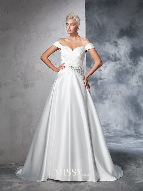 Ball Gown Sleeveless Taffeta Off-the-Shoulder Ruched Chapel Train Bridal Wedding Dresses
