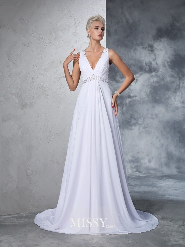 A-Line/Princess Sleeveless V-neck Chiffon Beading Cathedral Train Bridal Wedding Dresses