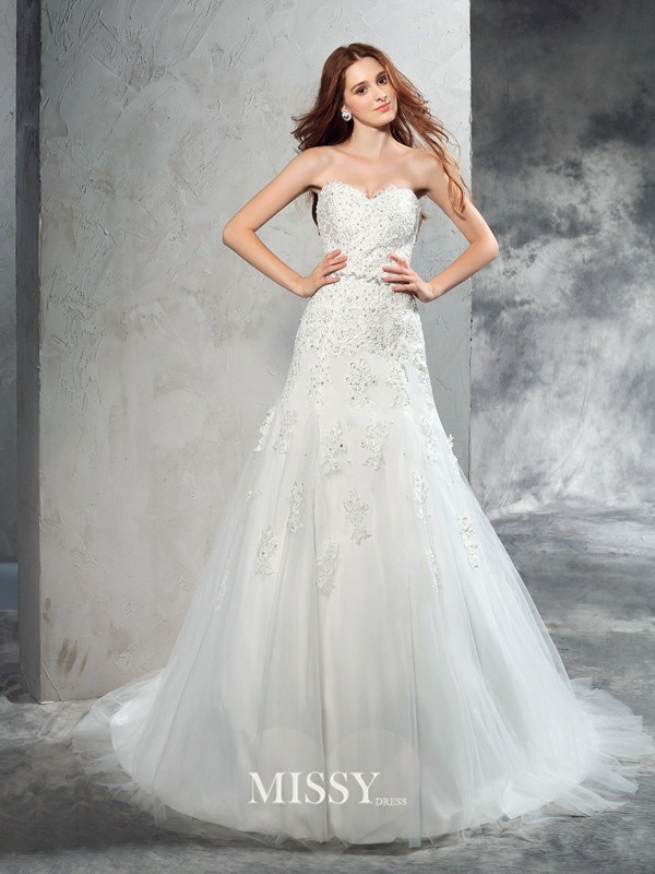 Column Sweetheart Sleeveless Applique Court Train Satin Wedding Dresses
