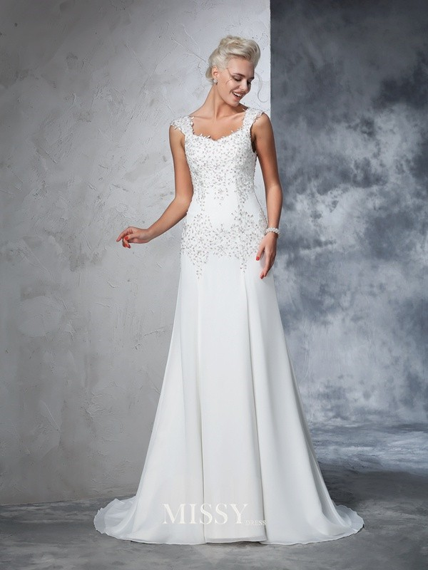A-Line/Princess Sleeveless Straps Chiffon Beading Court Train Bridal Wedding Dresses