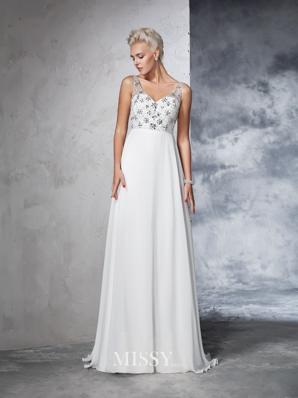 A-Line/Princess Sleeveless V-neck Chiffon Beading Sweep/Brush Train Bridal Wedding Dresses