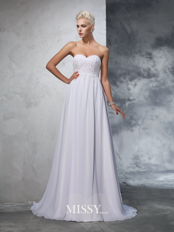 A-Line/Princess Sleeveless Sweetheart Chiffon Beading Sweep/Brush Train Bridal Wedding Dresses