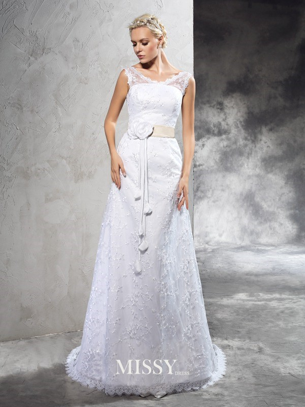 Sheath/Column Sheer Neck Sleeveless Court Train Satin Wedding Dresses