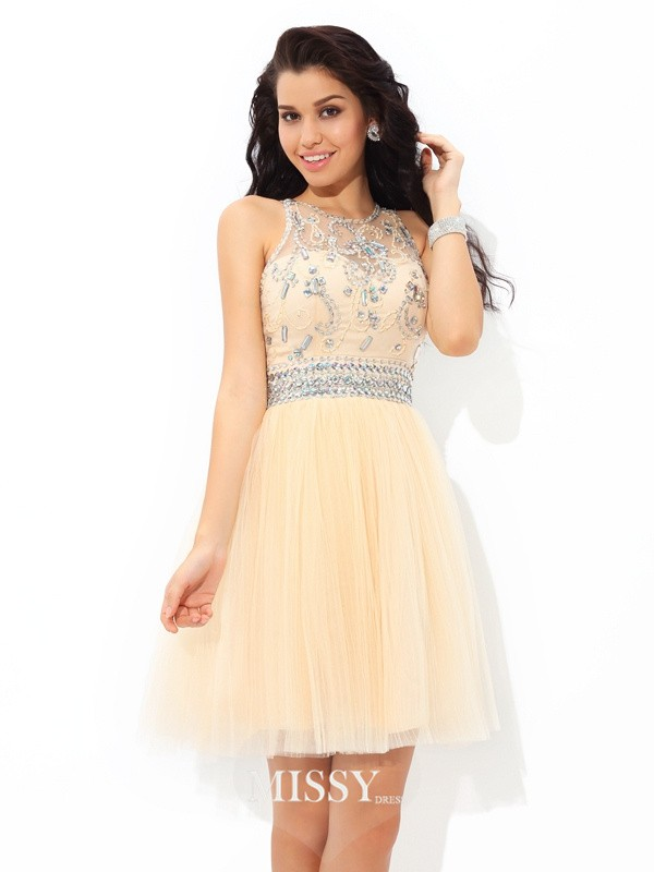 A-Line/Princess Sheer Neck Sleeveless Beading Short/Mini Net Cocktail Dress