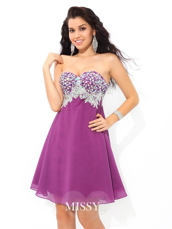 A-Line/Princess Sweetheart Sleeveless Rhinestone Short/Mini Chiffon Cocktail Dress