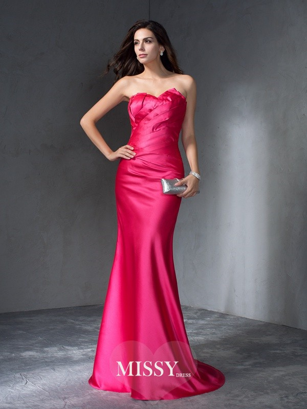 Trumpet/Mermaid Sweetheart Sleeveless Sweep/Brush Train Satin Dress