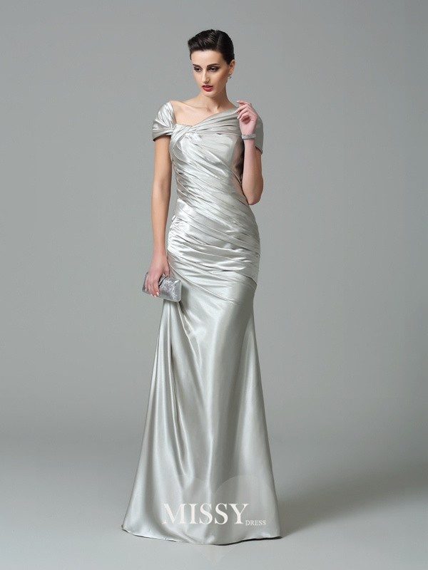 Sheath/Column Off-the-Shoulder Short Sleeves Floor-Length Silk like Satin Dresses