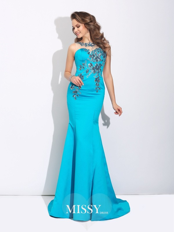 Trumpet/Mermaid Scoop Sleeveless Sweep/Brush Train Satin Dresses
