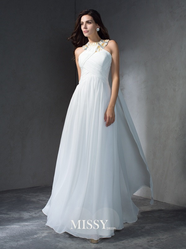 A-Line/Princess Jewel Sleeveless Floor-Length Chiffon Dress