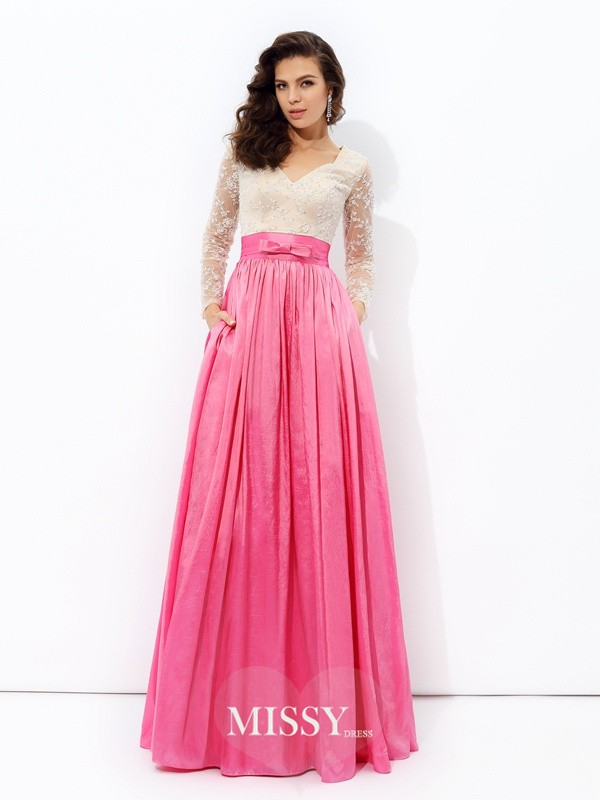 A-Line/Princess V-neck Long Sleeves Lace Floor-Length Taffeta Dress