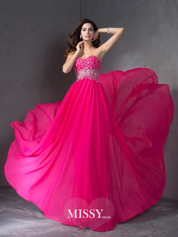 A-Line/Princess Sweetheart Sleeveless Sweep/Brush Train Beading Chiffon Dress