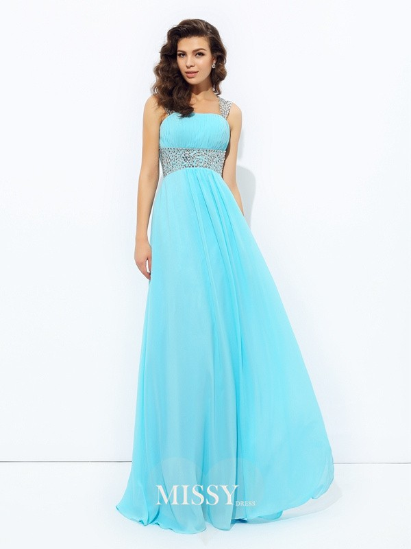 A-Line/Princess Straps Sleeveless Sequin Floor-Length Chiffon Dress