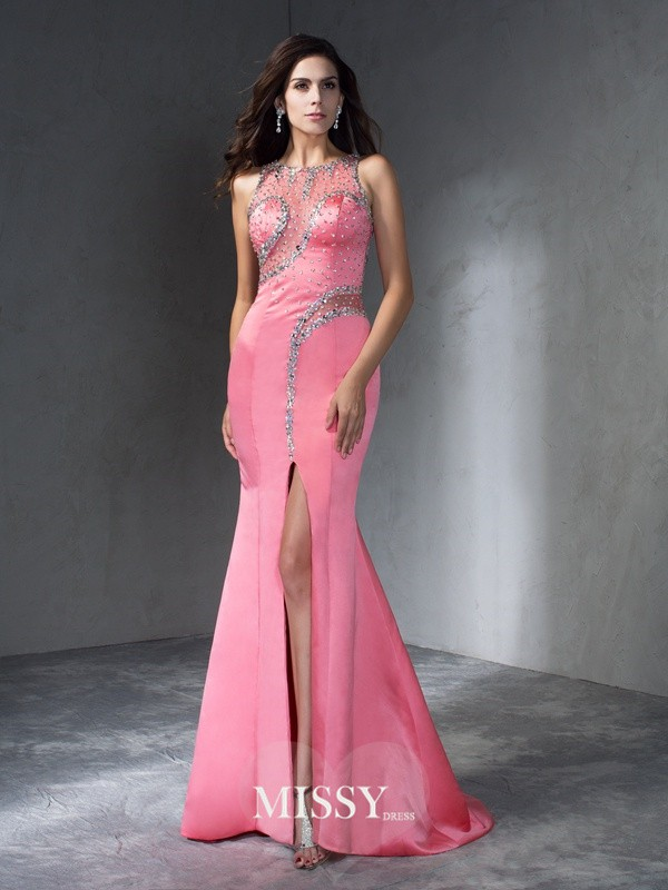 Trumpet/Mermaid Scoop Sleeveless Beading Sweep/Brush Train Satin Dress