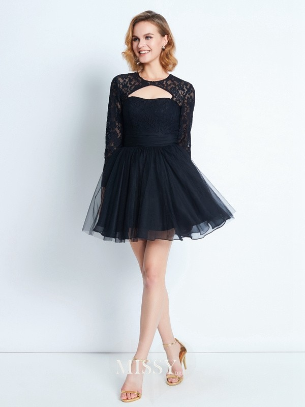 A-Line/Princess High Neck Lace Short/Mini Net Dresses