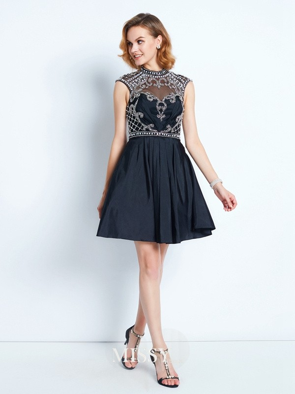 A-Line/Princess High Neck Beading Short/Mini Satin Dresses
