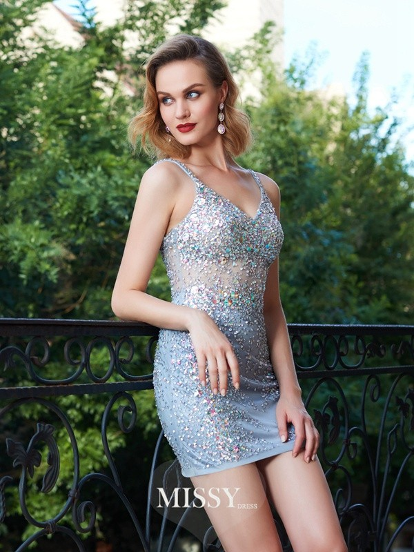 Sheath/Column Spaghetti Straps Net Sequin Short/Mini Dresses