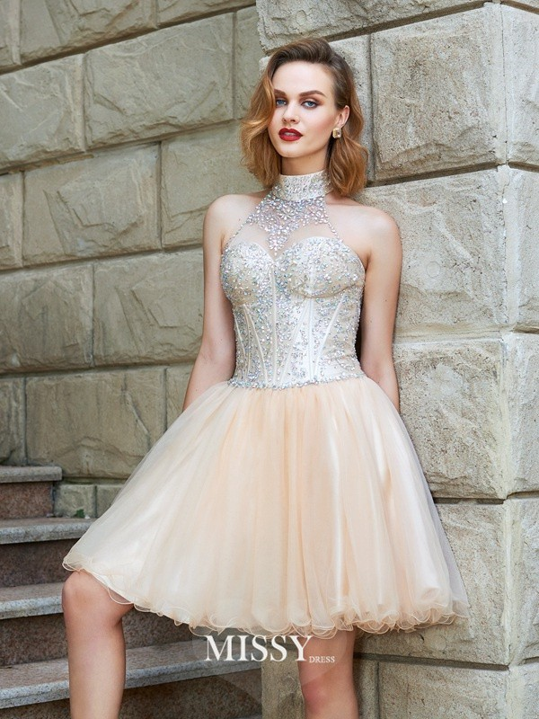 A-Line/Princess Halter Beading Net Short/Mini Dresses