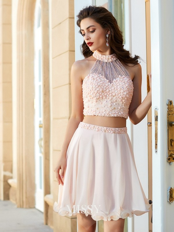 A-Line/Princess Halter Beading Chiffon Short/Mini Two Piece Dresses