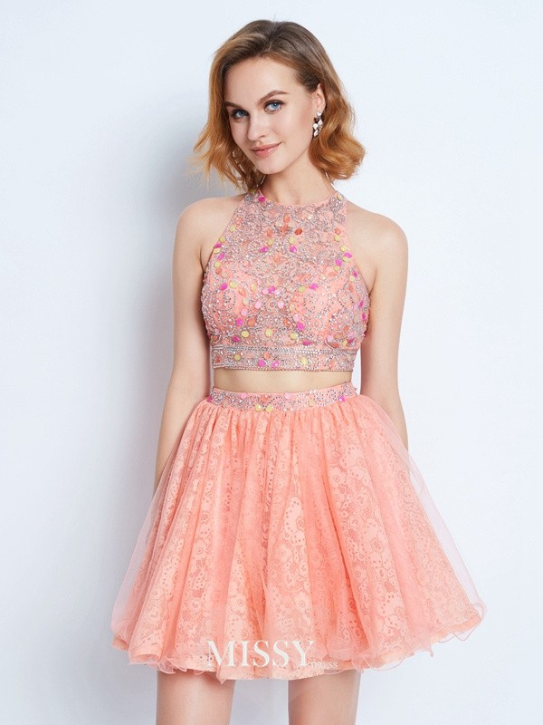 A-Line/Princess Jewel Lace Beading Short/Mini Two Piece Dresses