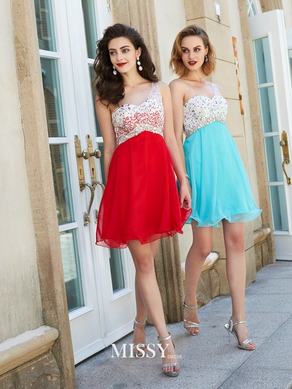 A-line/Princess Chiffon One-Shoulder Beading Short/Mini Dresses