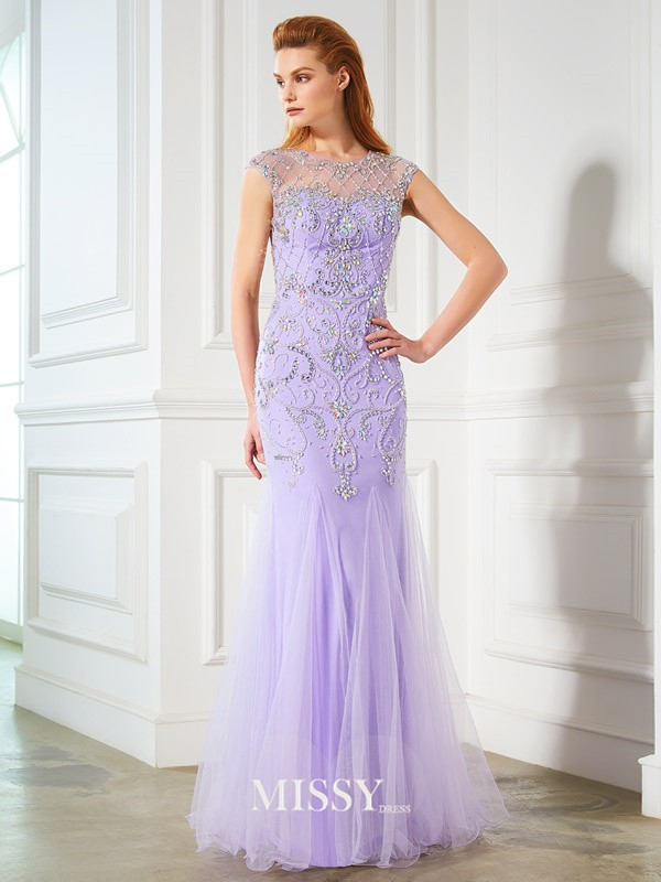 Trumpet/Mermaid Scoop Sleeveless Beading Floor-length Tulle Dresses