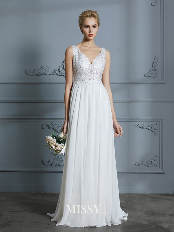 A-Line/Princess V-neck Sweep/Brush Train Chiffon Wedding Dresses