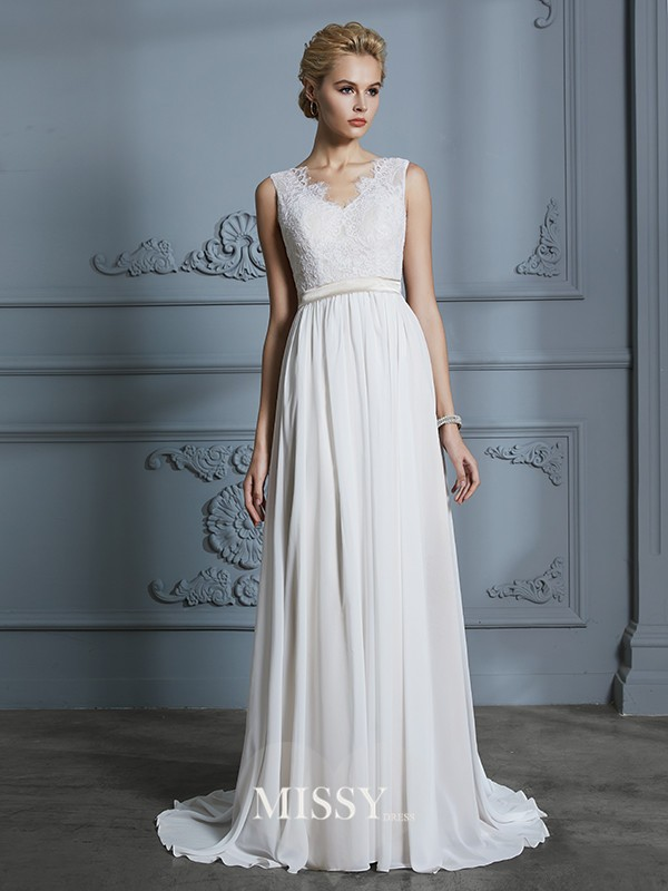 A-Line/Princess V-neck Chiffon Court Train Wedding Dresses