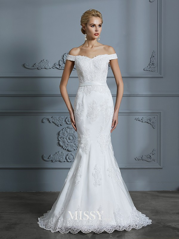 Trumpet/Mermaid Off-the-Shoulder Lace Sweep/Brush Train Tulle Wedding Dresses