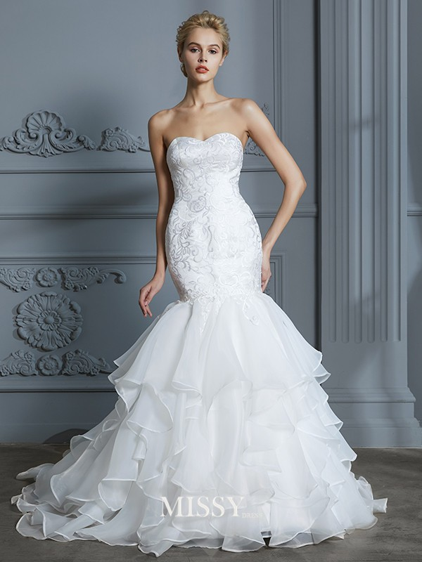 Trumpet/Mermaid Sweetheart Ruffles Sweep/Brush Train Organza Wedding Dresses