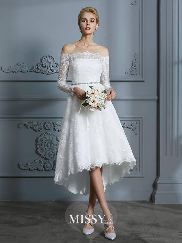 A-Line/Princess Off-the-Shoulder Asymmetrical Lace Wedding Dresses