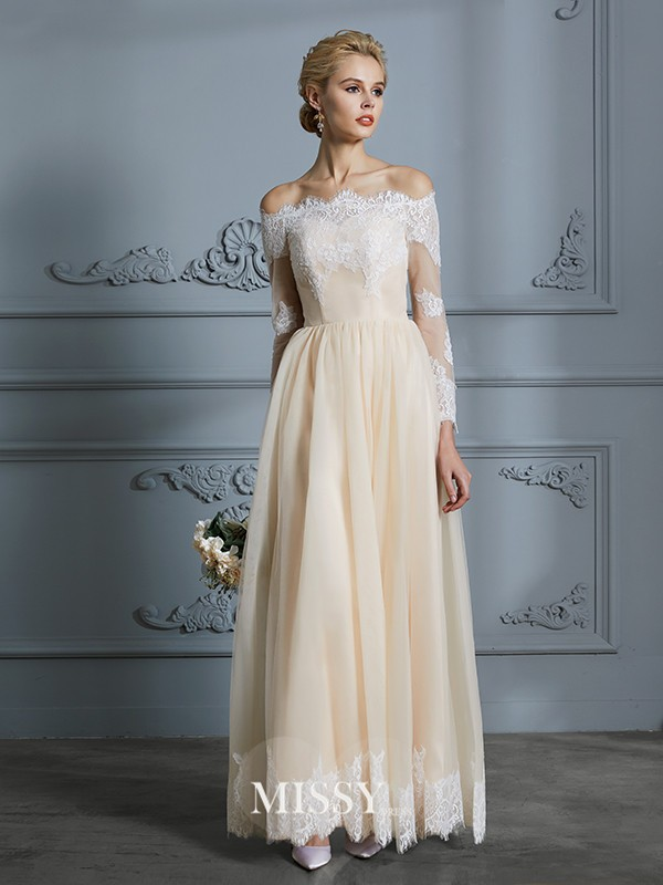 A-Line/Princess Off-the-Shoulder Floor-Length Lace Tulle Wedding Dresses