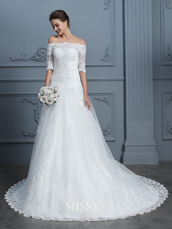 Ball Gown Off-the-Shoulder Beading Court Train Lace Wedding Dresses