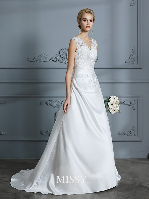 A-Line/Princess V-neck Sweep/Brush Train Applique Satin Wedding Dresses
