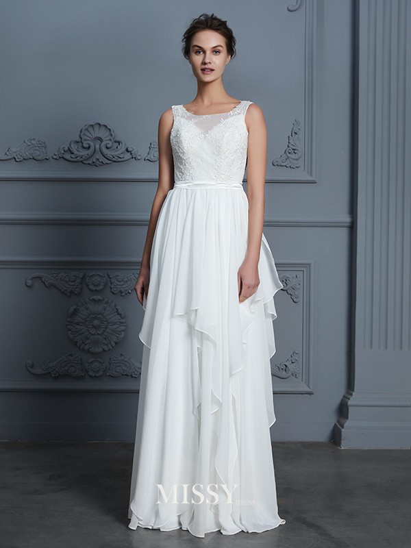 A-Line/Princess Scoop Ruffles Floor-Length Chiffon Wedding Dresses