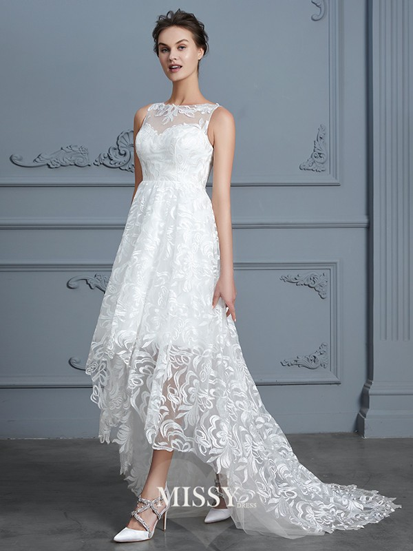 A-Line/Princess Scoop Lace Asymmetrical Lace Wedding Dresses