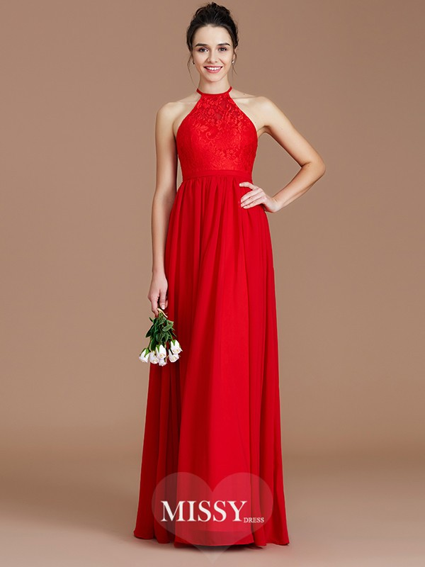 A-Line/Princess Halter Sleeveless Lace Floor-Length Chiffon Bridesmaid Dresses
