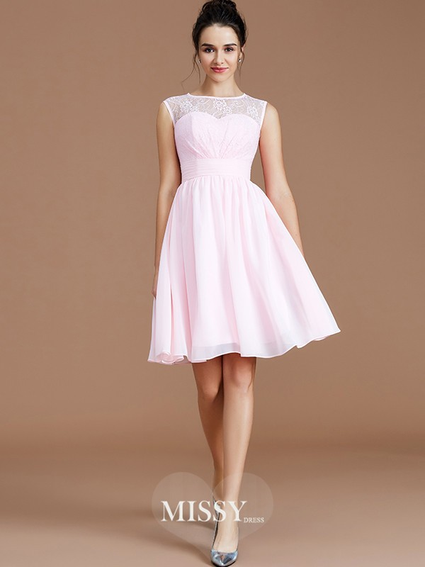 A-Line/Princess Sweetheart Sleeveless Lace Short/Mini Chiffon Bridesmaid Dresses