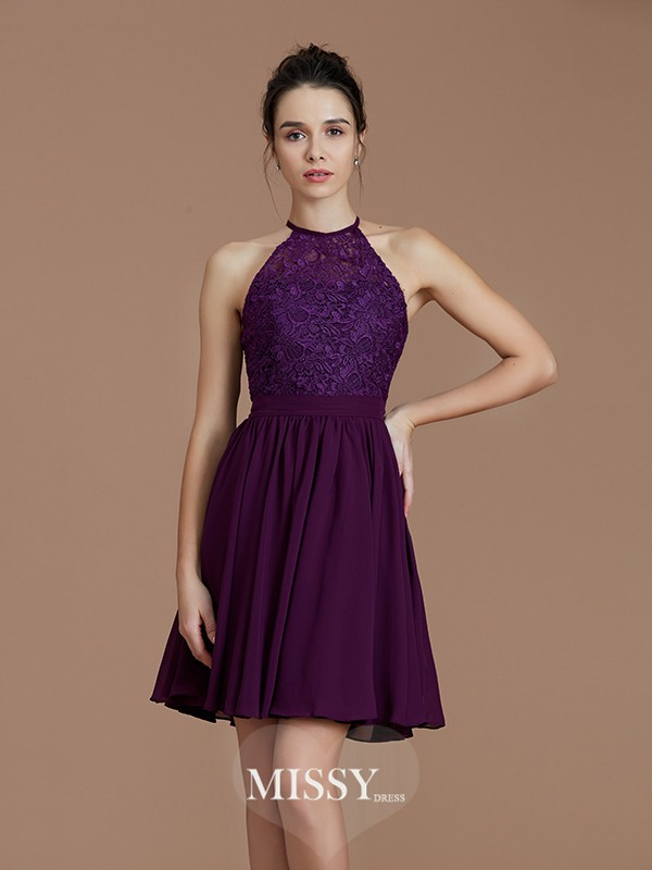 A-Line/Princess Halter Sleeveless Lace Short/Mini Chiffon Bridesmaid Dresses