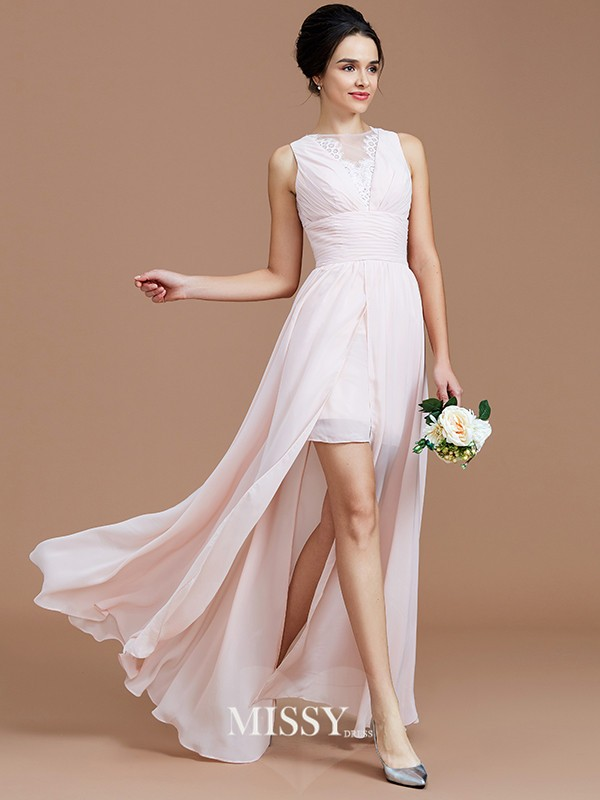 A-Line/Princess Jewel Sleeveless Ruched Floor-Length Chiffon Bridesmaid Dresses