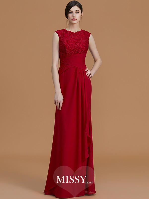 Sheath/Column Jewel Floor-Length Lace Chiffon Bridesmaid Dresses