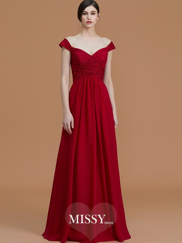 A-Line/Princess V-neck Sleeveless Floor-Length Lace Chiffon Bridesmaid Dresses