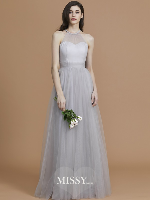 A-Line/Princess Halter Sleeveless Floor-Length Ruffles Tulle Bridesmaid Dresses