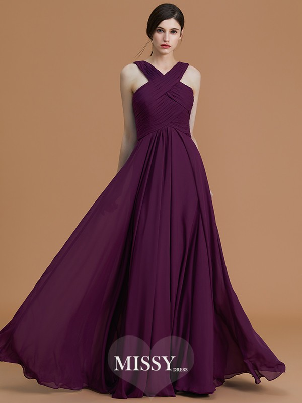 A-Line/Princess Halter Floor-Length Ruched Chiffon Bridesmaid Dresses