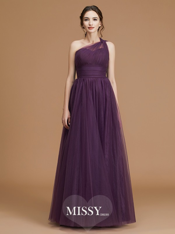 A-Line/Princess One-Shoulder Ruched Floor-Length Tulle Bridesmaid Dresses