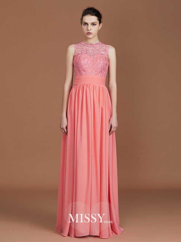 A-Line/Princess Jewel Lace Floor-Length Chiffon Bridesmaid Dresses