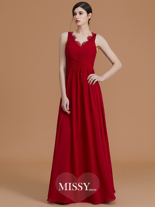 A-Line/Princess V-neck Floor-Length Ruffles Chiffon Bridesmaid Dresses
