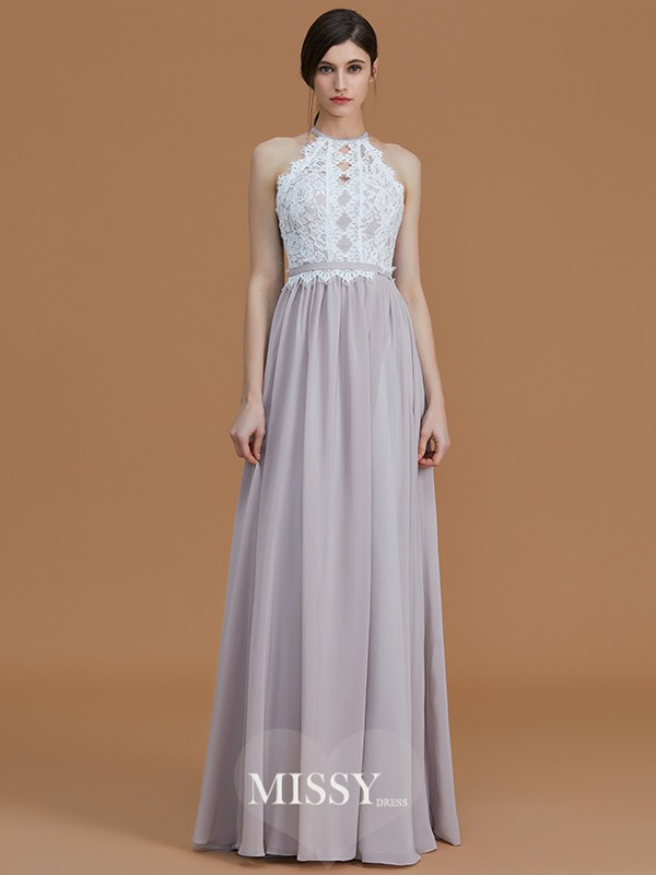 A-Line/Princess Halter Floor-Length Lace Chiffon Bridesmaid Dresses