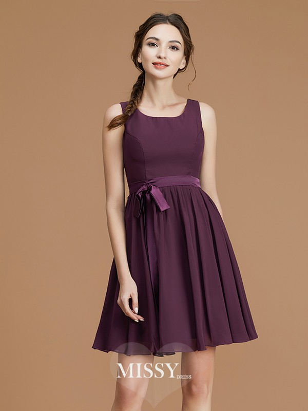 A-Line/Princess Bateau Sash/Ribbon/Belt Short/Mini Chiffon Bridesmaid Dresses