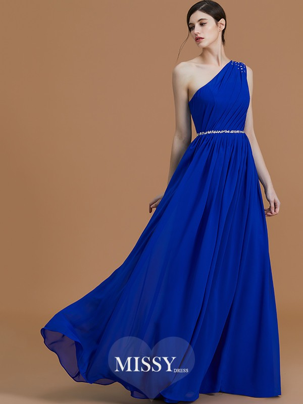 A-Line/Princess One-Shoulder Floor-Length Beading Chiffon Bridesmaid Dresses