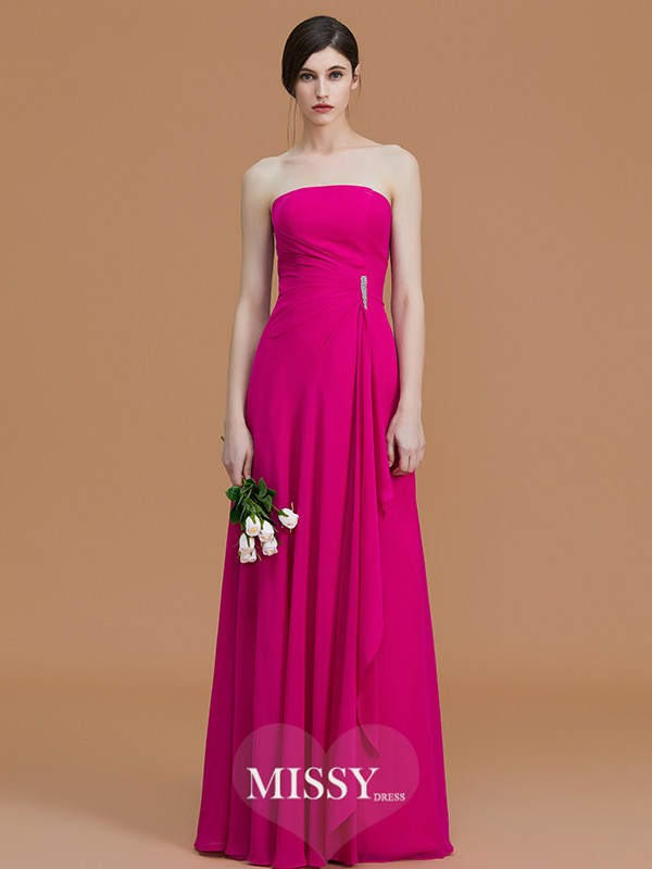 A-Line/Princess Strapless Floor-Length Ruffles Chiffon Bridesmaid Dresses
